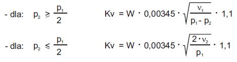 1. Przewidziany współczynnik przepływu w zaworze, dla warunków rzeczywistych: