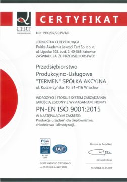 Certyfikat ISO 9001-2015 ważny do 2022r.