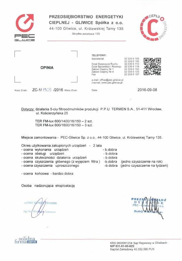 Referencje dla filtroodmulników DN600