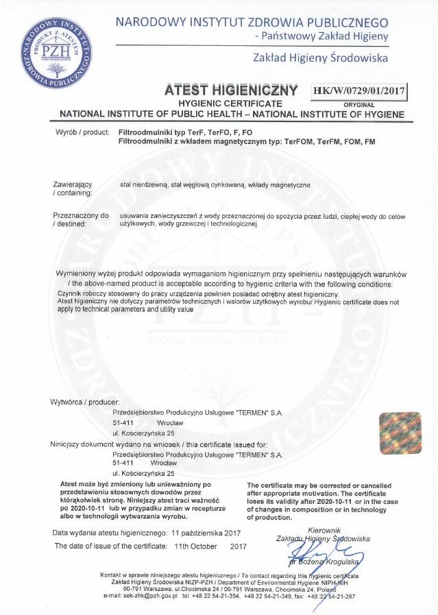 Atest higieniczny PZH filtroodmulniki 2020 r.
