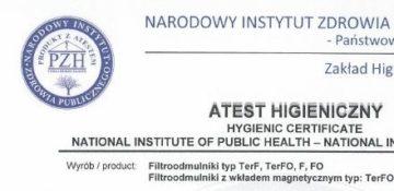 Atest higieniczny PZH na filtroodmulniki 2020r.