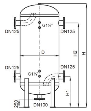 Zasobnik ciepłej wody użytkowej typ CZW i ZCWS (wymiary) o pojemności od 1037 do 2521 dm³