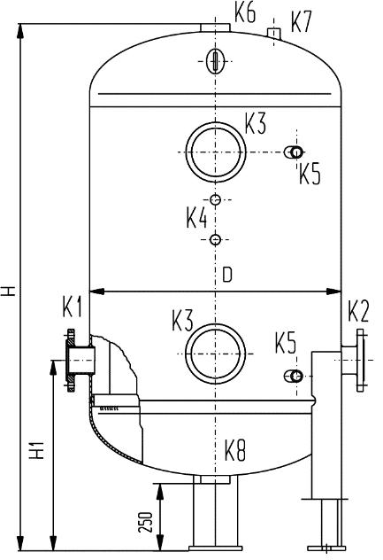 Zbiornik stalowy hydroforowy typ CZH wersja z przyłączami  kołnierzowymi (wymiary)