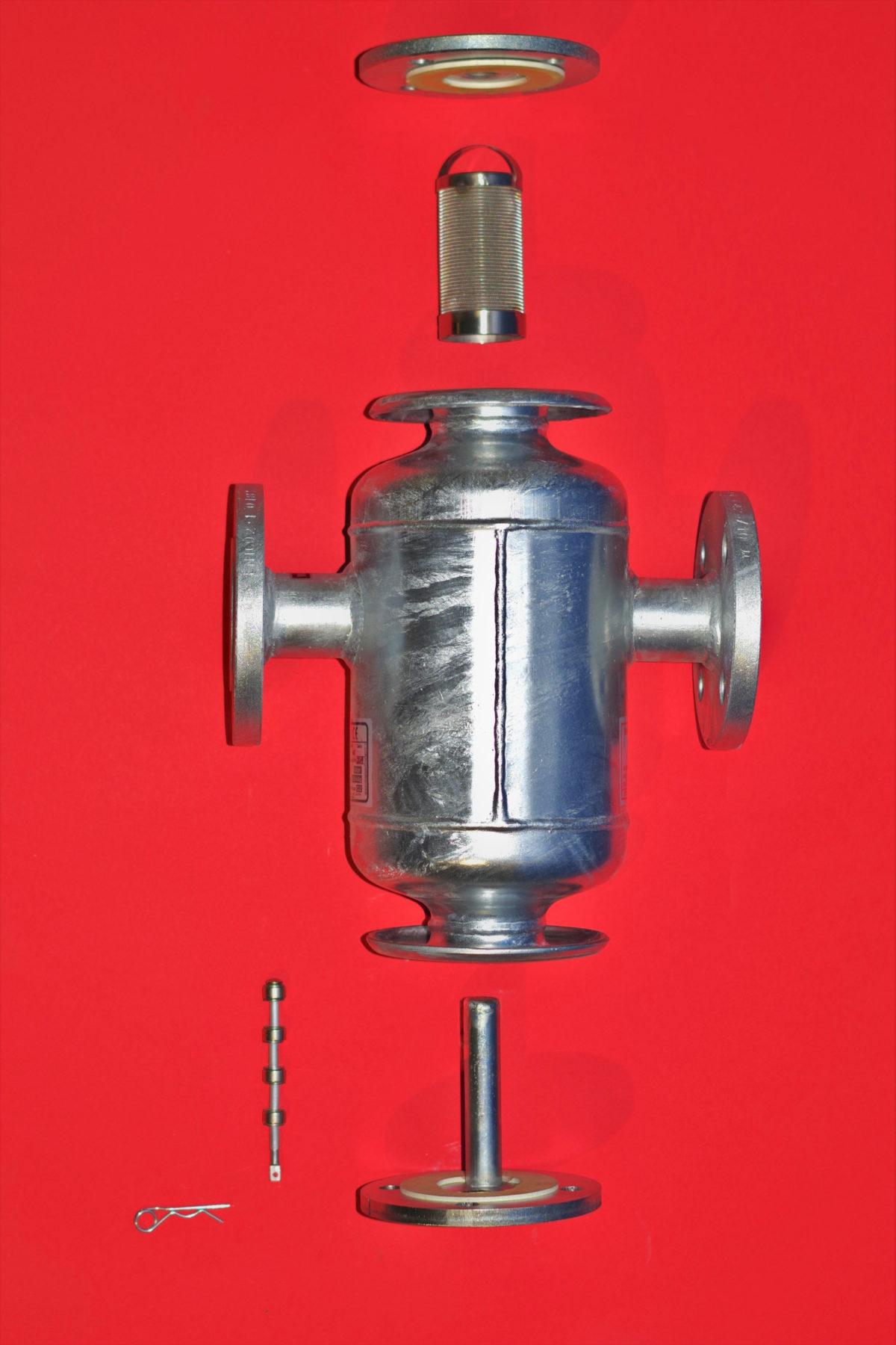 Elementy magnetoodmulacza TerFM, stos magnetyczny i osłona chroniąca przed osadami